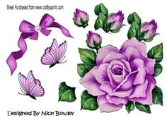 Pretty pink painted roses butterflies with bow on Craftsuprint - Add To Basket!