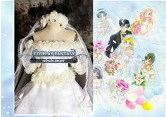 Sailor Moon Wedding Dress Cosplay costume Lolita White Evening Party Prom Gown