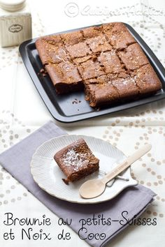 Brownie sans beurre aux Petits-suisses et à la Noix de Coco Brownies Without Butter, Blondie Brownies, Batch Cooking, Blondies, Banana Bread, Biscuits, Meal Prep, Donuts, French Toast