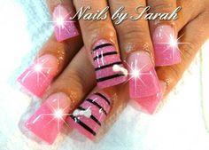 Acrylic nails - Nails By Sarah - Really Cute Nails, Great Nails, Funky Nail Art, Pretty Nail Art, Duck Feet Nails, Toe Nails, Sparkle Nails, Bling Nails, Pink Powder Nails