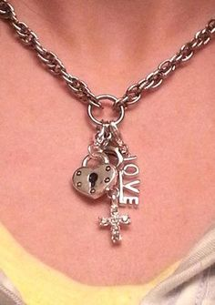 For those who don't want a locket from South Hill Designs, we also sell droplets! I love the look of this! This is a silver textured interlocking chain with the cross droplet, lock droplet and LOVE droplet Locket Design, Jewelry Design, Locket Charms, Lockets, Create Your Story, South Hill Designs, Picture Design, Fashion Jewelry, Bling