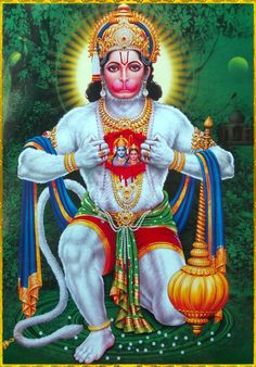 """☀ HANUMAN ॐ ☀ Artist: Yogendra Rastogi Lord Vishnu said: """"When the heart is cleansed of all material contamination, the devotee's mind becomes broader and transparent, and he can see things equally. At that stage of life there is peace, and one is. Hanuman Jayanthi, Hanuman Photos, Hanuman Images, Shiva Art, Shiva Shakti, Hindu Art, Ganesha Art, Krishna Art, Hare Krishna"""