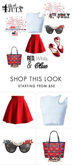 """Red, White, and Blue Fashion"" by mandimwpink ❤ liked on Polyvore featuring Chicwish, Thierry Mugler, Anna-Karin Karlsson, Michael Kors, redwhiteandblue and july4th"
