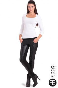 Damskie spodnie #czarne skóra+dzianina