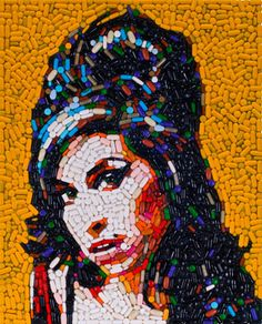 Mosaic Portrait of Amy Winehouse by Jason Mecier.  Made entirely of pills. Amy Winehouse, Collages, Collage Artists, Junk Art, Pixel Art, Studio Kids, Mosaic Portrait, Art Disney, Collage Making