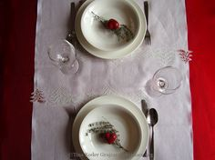 Christmas table set fot two with hand-made Idrija lace application and machine-made embroidery Christmas Table Settings, Bobbin Lace, Wedding Gifts, Tableware, Handmade, Embroidery, Decor, Decorating, Wedding Giveaways