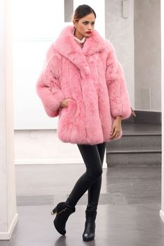 Pink Fox Fur Women Coat Lady Long Jacket -commodityocean.com