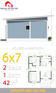 Simple House Plans with 2 bedrooms Shed Roof - House Plans 2 Bedroom House Design, House Roof Design, 2 Bedroom House Plans, Simple House Design, Home Building Design, Tiny House Design, Home Design Plans, Small Cottage House Plans, 3d House Plans