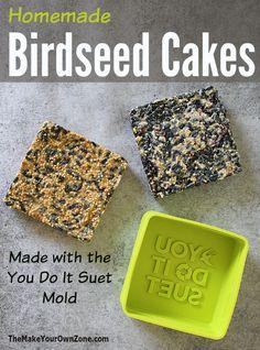 How to make homemade birdseed cakes using the You Do It Suet mold Homemade Bird Houses, Homemade Bird Feeders, Diy Bird Feeder, Squirrel Feeder, Bird Seed Cake Recipe, Suet Recipe, Bird Suet, Suet Cakes, Bird House Kits