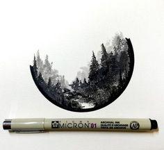 "Gefällt 4,494 Mal, 37 Kommentare - Derek Myers (@derek_the_deliman) auf Instagram: ""#drawing #dailydrawings #illustration #ink #inkdrawing #landscape #geometry #artofdrawingg…"""