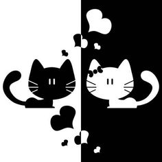 Black+White Cat Love Heart Home Decor Sticker Removable Art Kitchen Wall Sticker Bedroom Wall Paper I Love Cats, Crazy Cats, Crazy Bird, Bird Silhouette, Cute Kittens, Cute Birds, Cat Drawing, Cat Art, Cat Lovers