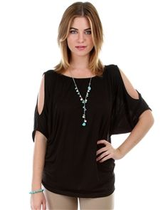 Lyss Loo Black Rayon Open Shoulder Wing Sleeve - exclusively at Clothing Showroom!