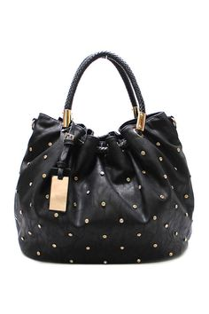 Dotted Reagan Satchel in Black