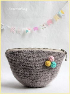 Sweet Furry Pouch, in brown-gray color,  Feel happy with a lovely presents for you or your loved one.