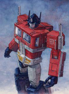 Transformers - Optimus Prime by Hector Trunnec * Gi Joe, D Mark, Transformers Optimus Prime, Classic Cartoons, Cartoon Pics, Cartoon Characters, Samurai, Comic Art, Marvel
