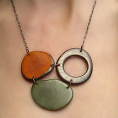 Three Is Company Necklace: handmade from eco-friendly tagua nuts grown in the Amazon rain forest