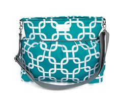 Turquoise Chainlink  Diaper Bag  - Stroller Bag - Bags and Purses - Baby Bag SKU: DB001CLC FREE SHIPPING