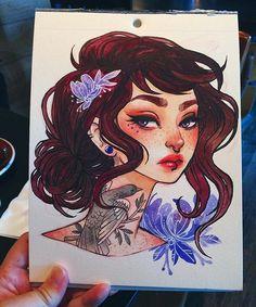 watercolor, pentel pocket brush pen, and colored pencil.  #illustration #art…