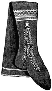 Victorian Stockings  Stockings were as carefully chosen as boots or shoes; as regards fit, neither too tight nor too loose. Tight boots and tight stockings wore out very quickly. If too loose, they were uncomfortable. For winter wear, stockings were woolen or merino. Home-knitted stockings wore much better than any that could be bought. Period ladies' magazines gave instructions for stockings, and an account of the best materials to use; they also recommended that stockings should be changed…