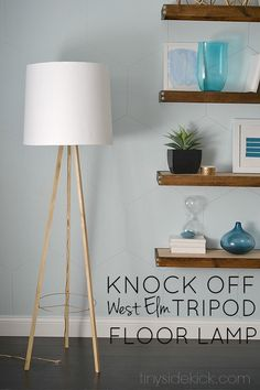 The first post in a series of 6 is a West Elm Knock Off Tripod Floor Lamp. Mine was $40 and their's is $250. Complete tutorial to make your own.