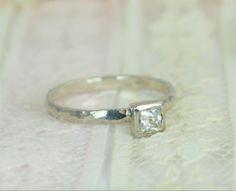 Square CZ Diamond Engagement Ring14k White Gold by Alaridesign