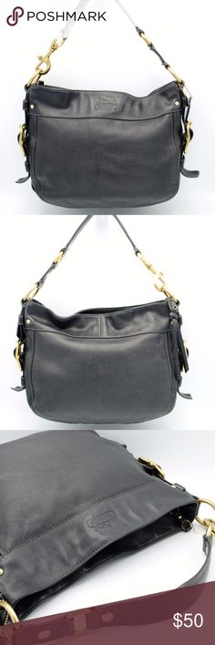 👜Coach Black Zoe Leather Hobo Shoulder Bag Authentic COACH Black Leather Hobo Handbag  Brass Metal Detail Single Strap COACH Embossed on Front Medium Black Leather COACH Hang Tag Zipper Closure Purple Sateen Yoke Inside Zipper Pocket G0882-12671  Measurements: Height: 10'' Length: 13'' Depth: 3'' Drop: 8''  There's a few small ink stains on the inside.  Bag has been cleaned. Coach Bags Hobos