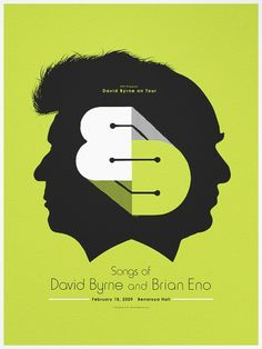 David Byrne and Brian Eno gig poster by Andrio Abero, available on his website
