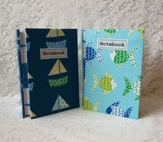 Handmade fabric notebook:  choose sail boats or fish £8.95