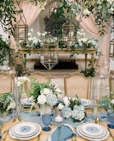 Blue Wedding Flowers - A Dreamy Wedding at Rancho Las Lomas Straight out of a Fairytale Beach Wedding Decorations, Wedding Table Centerpieces, Wedding Flower Arrangements, Floral Centerpieces, Wedding Themes, Wedding Colors, Wedding Venues, Centerpiece Ideas, Wedding Ideas