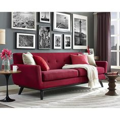 James Red Linen Sofa TOV-S96SDescription :Strong and handsome, with a soft side, the James sofa captures the essence of Mid-Century style that refuses to fade into obscurity. The cushioned arms provide added comfort while the small scale tufting adds a pop of personality. Made from a kiln dried wood frame with solid Birch legs, this handcrafted sofa will undoubtedly add style to your spaceProduct Color : RedLeg Color : BlackDimensions :Sofa : 90.55