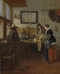 Quiringh Gerritsz. van Brekelenkam | The Tailor's Workshop, Quiringh Gerritsz. van Brekelenkam, 1661 | De kleermakerswerkplaats. Een kleermaker en zijn twee jonge knechten zitten op een tafel bij het raam te naaien. Op tafel ligt een schaar. Rechts een staande vrouw met een koperen emmer. Tegen de muur hangen een schilderij (rivierlandschap), een speldenkussen en een vogelkooitje.