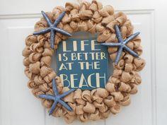 Beach wreath Beach burlap wreath Seashore by ChloesCraftCloset