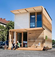 container, container architecture, the commod house by containme made from repurposed shipping containers. it features a low energy footprint and is made with low VOC materials such as clay wood cellulose and steel Container House Design, Tiny House Design, Modern House Design, Sea Containers, Casas Containers, Tyni House, Container Buildings, Shipping Container Homes, Shipping Containers