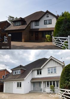 This house in Woking has had a refresh with new render, timber windows and front door and a great colour scheme by Back to Front Exterior Design Modern Bungalow Exterior, Dream House Exterior, House Exterior Color Schemes, Exterior Design, Rendered Houses, Weatherboard House, House Extension Design, House Makeovers, Architecture Design