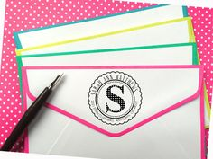 Circle Monogram Return Address Stamp ROUND by LittlebeaneBoutique