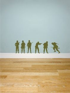 Army Soldiers wall decals Set of 6 by greywolfgraphics on Etsy Boys Army Room, Boy Room, Soldier Silhouette, Silhouette Vinyl, Army Bedroom, Bedroom Wall, Bedroom Decor, Army Decor, Cool Kids Rooms