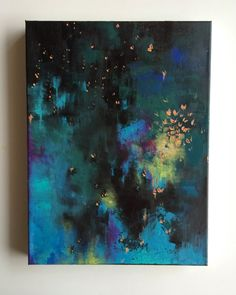 Deep blues and greens, Acrylic painting, original artwork by JessicaFraserArt on Etsy