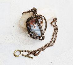 Lace Agate Tibet Agate Tour The World Gemstone Metal Bead Pendant Necklace #Jeanninehandmade #Pendant