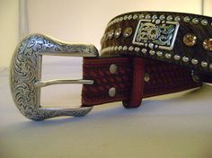 """1 1/2"""" calf hair belt with genuine cut glass crystals"""