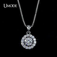 Women's Summer Jewelry Stores White Gold Plated Necklaces & Pendants With AAA CZ Long Pendant Necklace AUN0012