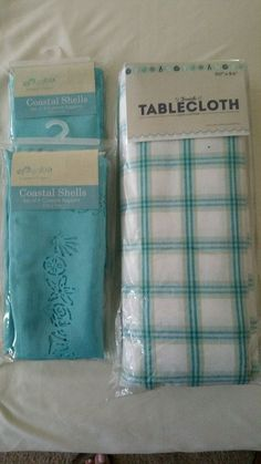 """NIP Seaside Fabric Tablecloth 60 X 84"""" with 8 Coastal Shells napkins, Teal in Home & Garden, Kitchen, Dining & Bar, Linens & Textiles   eBay"""