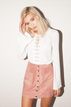 Heather Suede Skirt - Burgundy