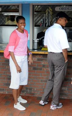 U.S. President Barack Obama and first lady Michelle Obama order lunch at Nancy's Restaurant while vacationing on Martha's Vineyard with his family August 25, 2010 in Oak Bluffs, Massachusetts. The Obama's are heading into their last weekend on the island before returning to Washington on Sunday.  (August 24, 2010 - Source: Darren McCollester/Getty Images North America)