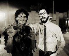 Michael Jackson and director John Landis on the set of the music video of  Thriller (1983).