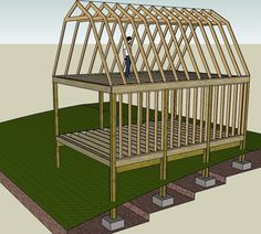 Making my own plans - 16u0027 x 24u0027 Gambrel Style ... & Large Gambrel Shed Plans 16x24! | 16x24 Shed Plans | Pinterest ...