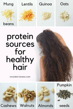 Healthy hair diet: See the best foods for healthy hair! - This infographic lists 8 vegetarian and vegan protein sources for healthy hair roots: Mung beans, l - Healthy Hair Tips, Healthy Hair Growth, Hair Growth Tips, Hair Care Tips, Hair Protein, Vegan Protein, Natural Hair Care, Natural Hair Styles, Make Hair Grow