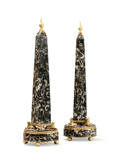 A pair of neoclassical style marble gilt-bronze mounted obelisks - Dim: H: 81 cm, diam. 22 cm // height 32 in. 8 in. Egyptian Kings And Queens, Obelisks, Classic Architecture, Grand Tour, Neoclassical, Columns, Fiction, Aesthetics, Carving