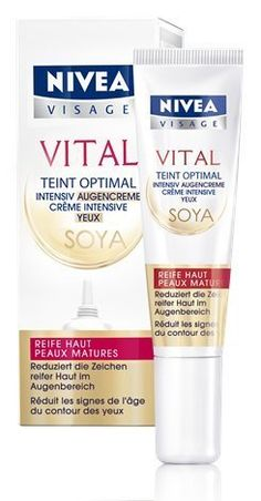 Nivea Visage Vital Teint Complexion Optimal Anti-Age Soy Eye Care Cream 0.5 fl. oz - 15ml by NIVEA. $38.99. Especially developed for the needs of mature skin. Reduces the appearance of wrinkles and lines around the eyes. Firms and plumps-up the delicate eye area. Reduces puffiness and dark circles around the eyes. Made and developed in Germany. Nivea Visage Vital Teint Complexion Optimal (Anti-Age) Soy Eye Care Cream is a highly effective formula that has been developed spec...