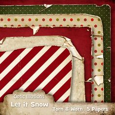 Torn and Worn Srapbooking Papers  LET IT SNOW  5 by opticillusions, $2.50