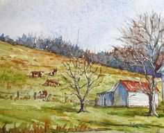 "My Christmas gift to you...a new watercolor tutorial!          The Minor Farm, Greene County, PA, 17"" x 10.5"", ink & watercolor on Fabrian..."